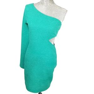 BCBG aquamarine long sleeve one shoulder dress